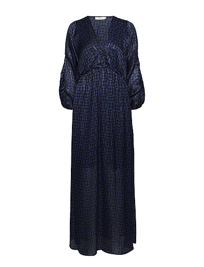 Graphic lurex long dress - BLUE