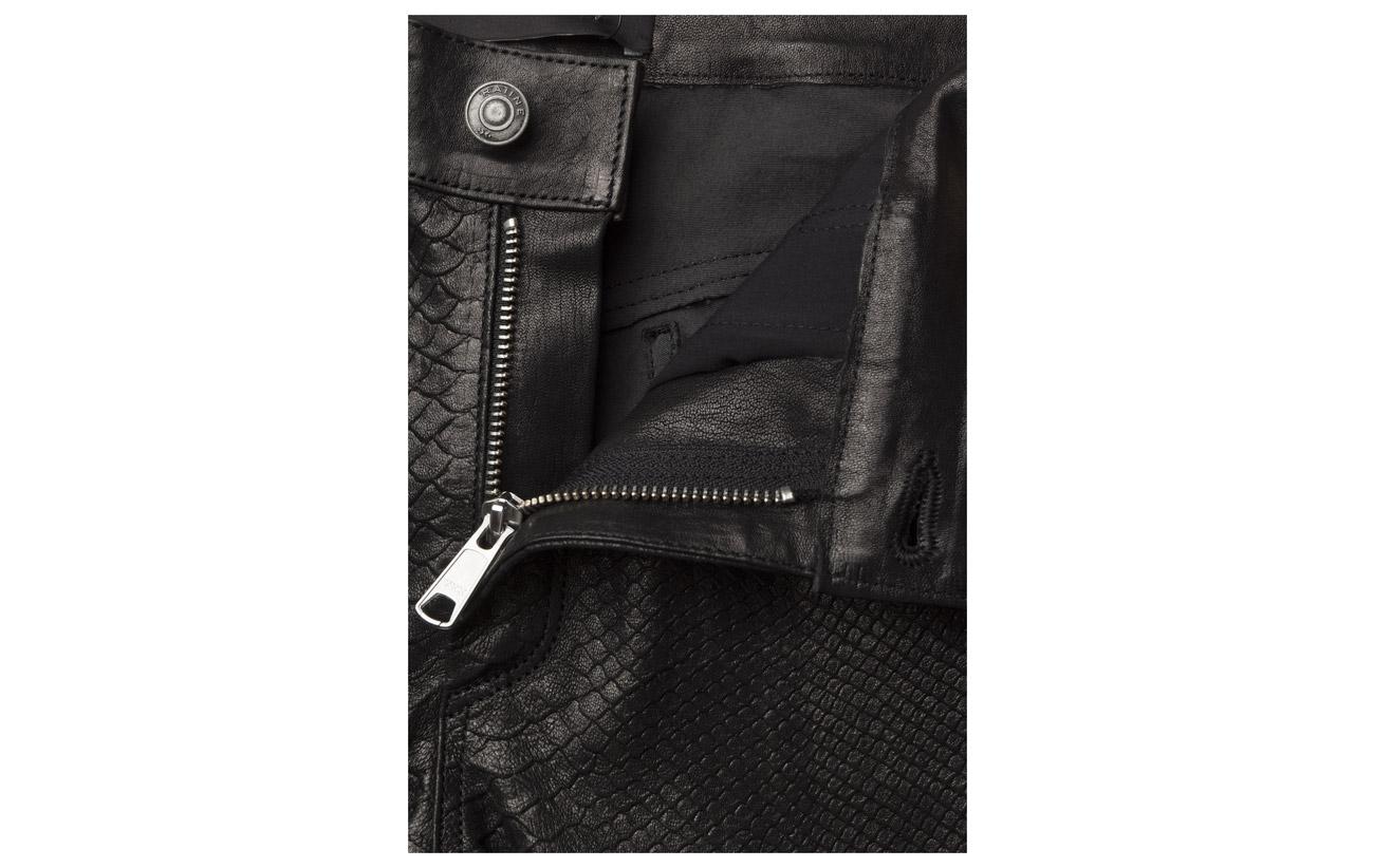 Détails Emossed De Peau Cuir Pants Hardware Stretch Silver Lamb Backing Équipement Mouton Raiine Colton Effect With Antique Black Strech 100 qtx1ZPZa