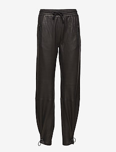 CUYLER LEATHER PANTS - spodnie skórzane - black