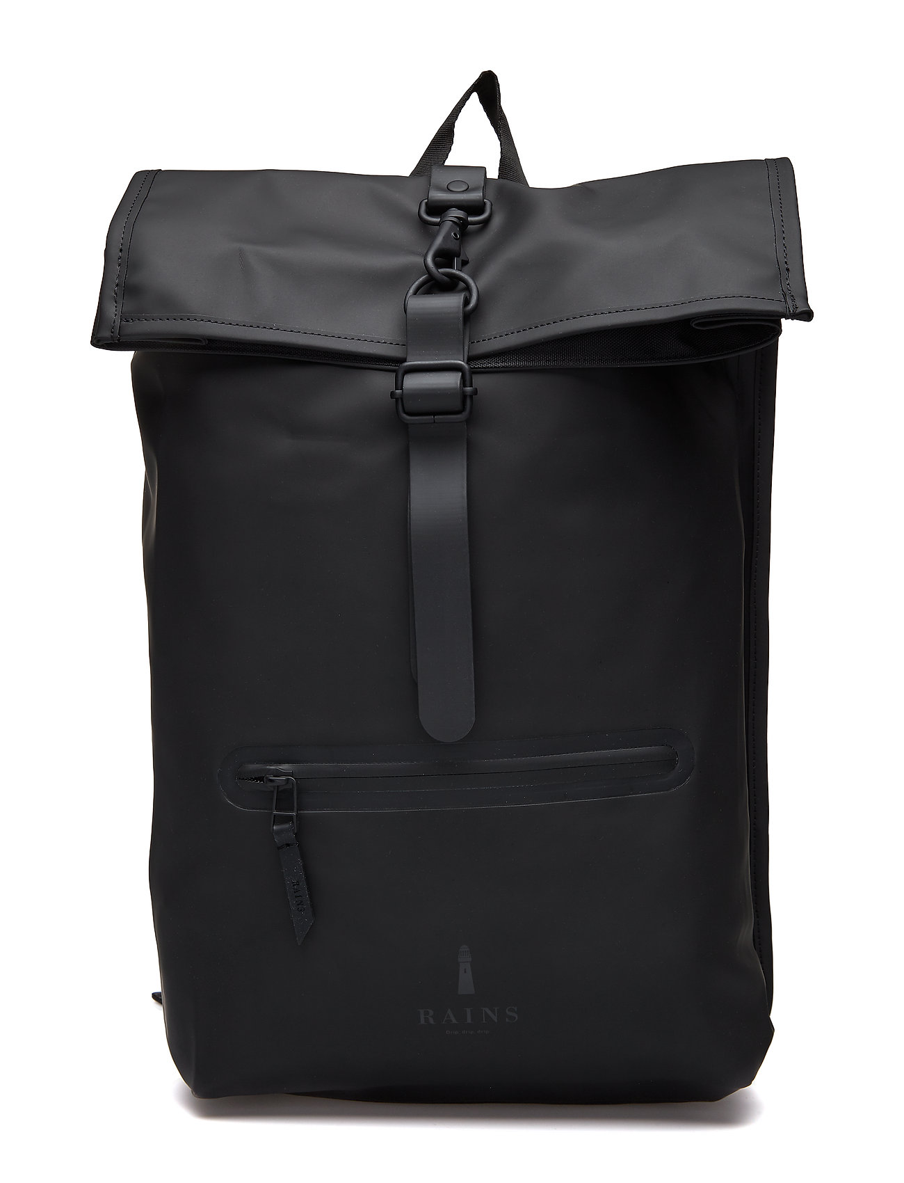 Rains Roll Top Rucksack - 01 BLACK