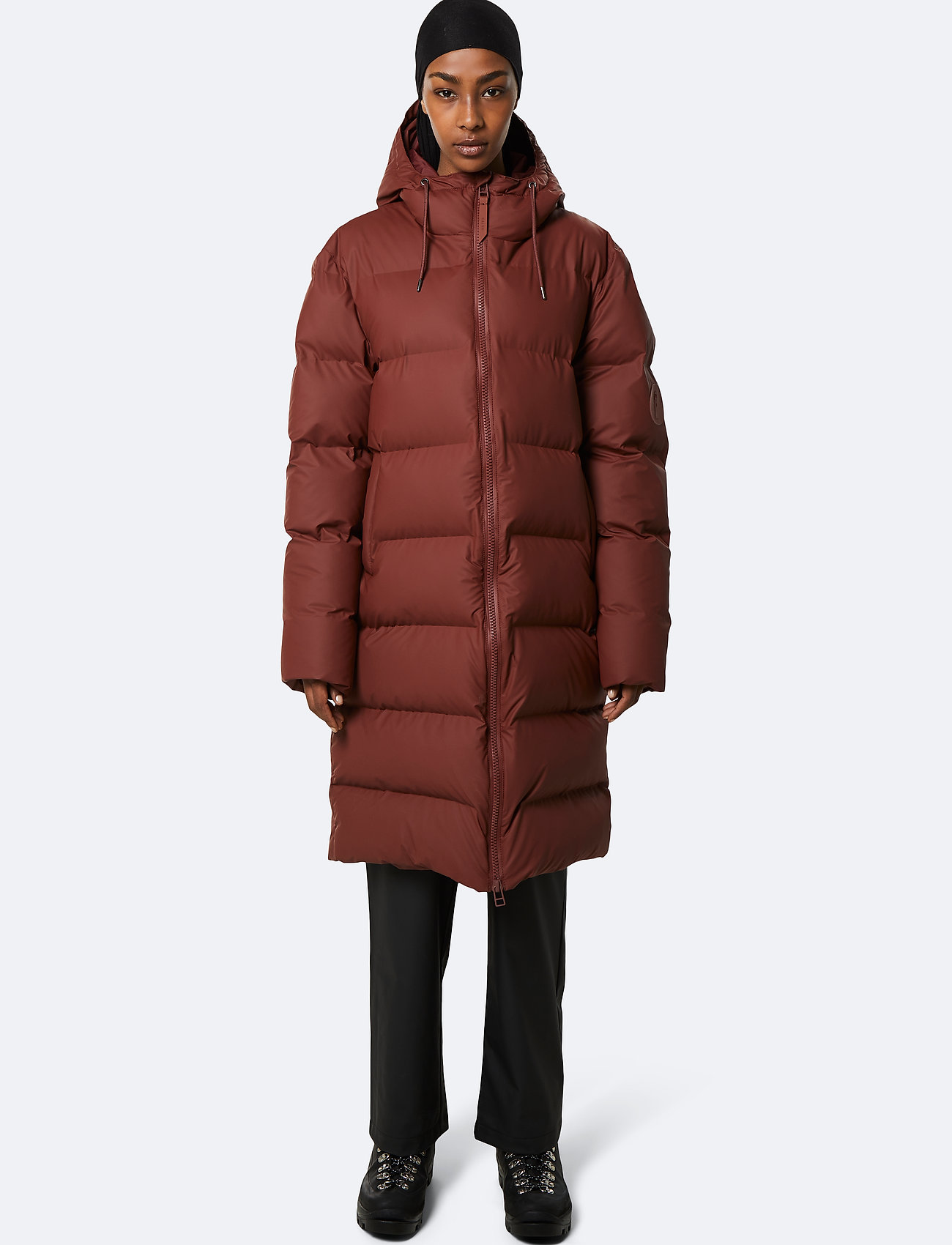Rains - Long Puffer Jacket - donsjassen - 11 maroon - 0