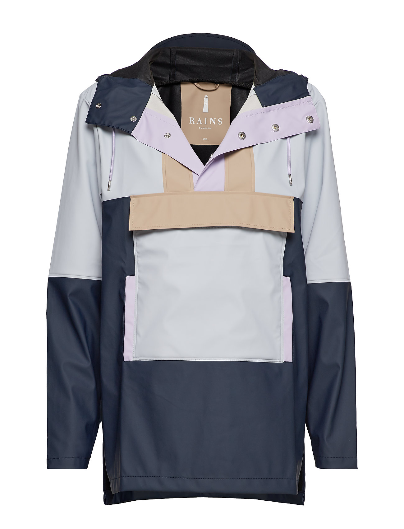 Rains Color Block Anorak - BLUE/ICE GREY