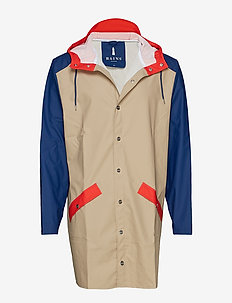 Color Block Long Jacket - BEIGE/KLEIN BLUE