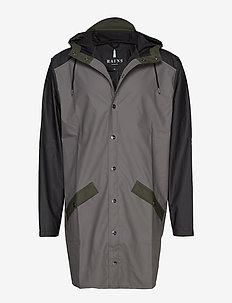 Color Block Long Jacket - CHARCOAL/BLACK