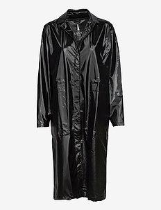 String Overcoat - trench coats - 76 shiny black