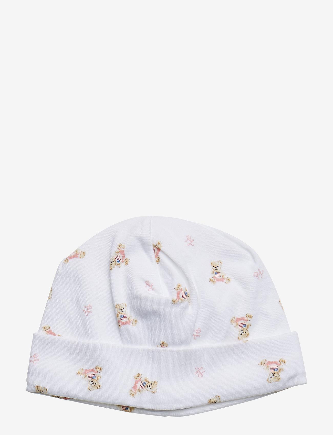 Ralph Lauren Baby - INTERLOCK-BEANIE-AC-HAT - hats - white/pink/multi - 0