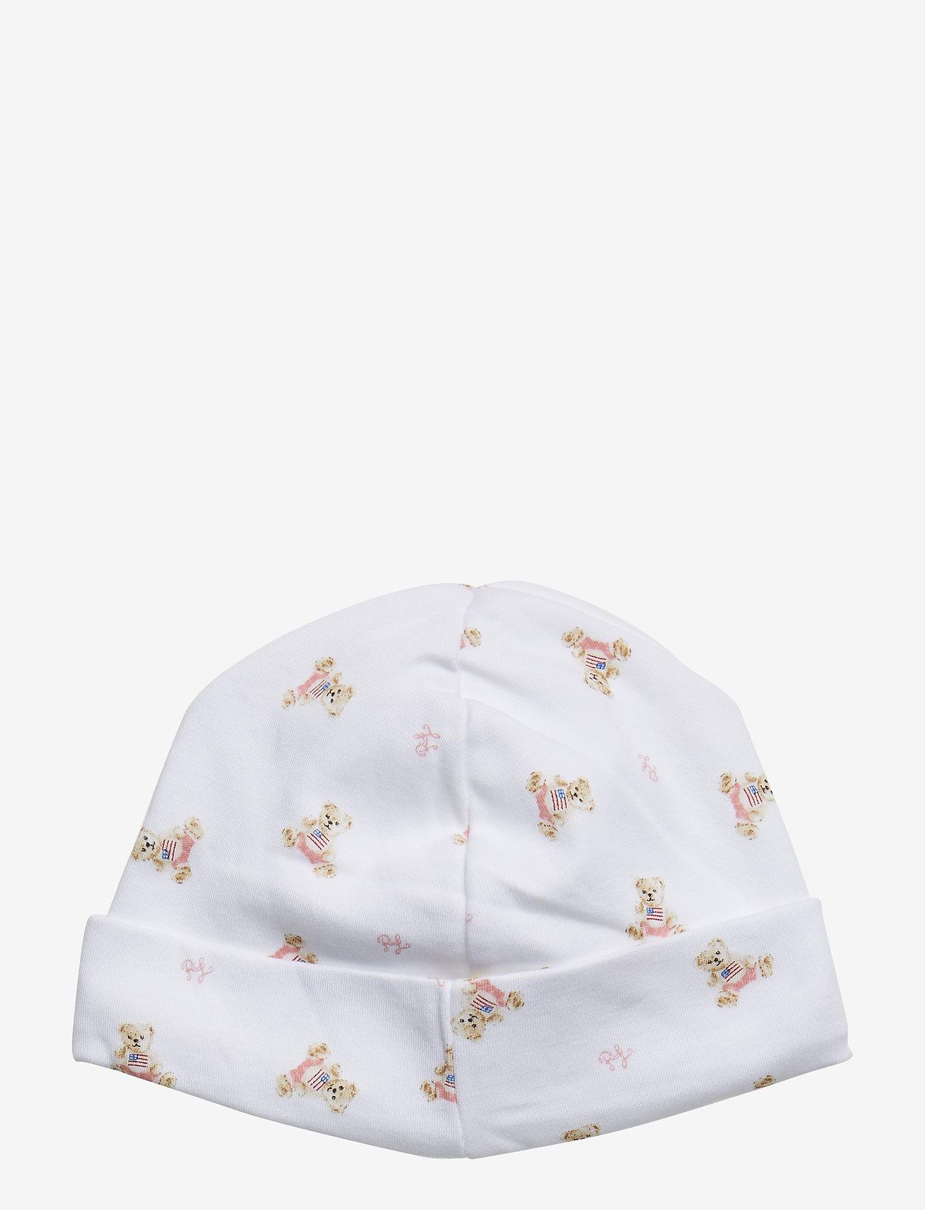 Ralph Lauren Baby - INTERLOCK-BEANIE-AC-HAT - hats - white/pink/multi - 1