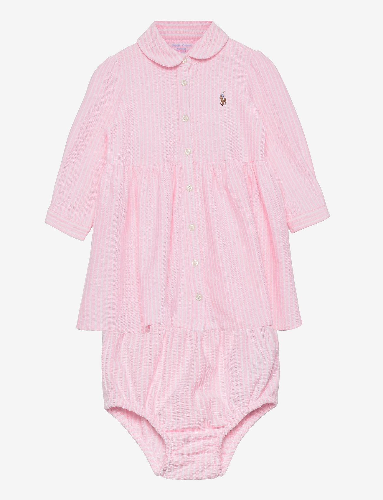 Ralph Lauren Baby - Striped Oxford Dress & Bloomer - dresses - carmel pink/white - 0