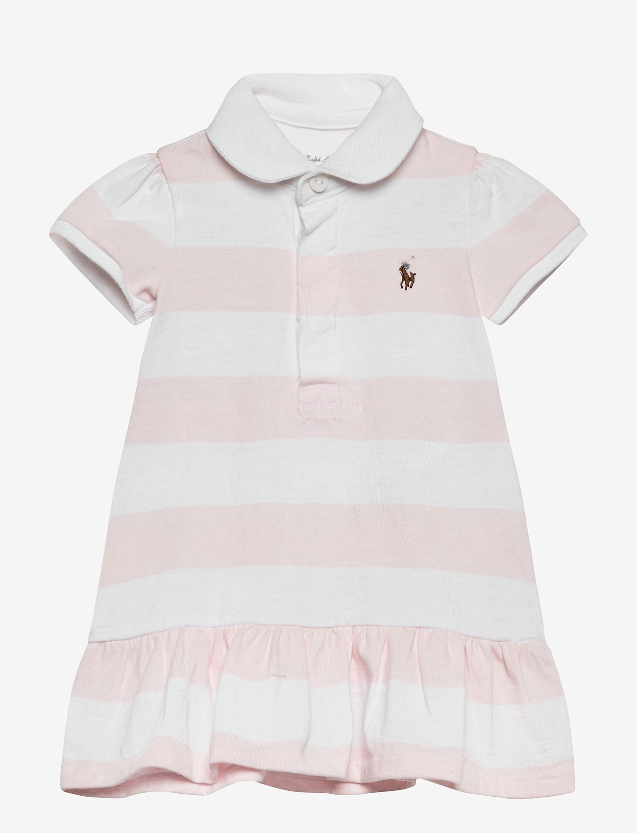 Ralph Lauren Baby - YD RUGBY JERSEY-RUGBY STRIPE-DR-KNT - dresses - delicate pink/whi - 0
