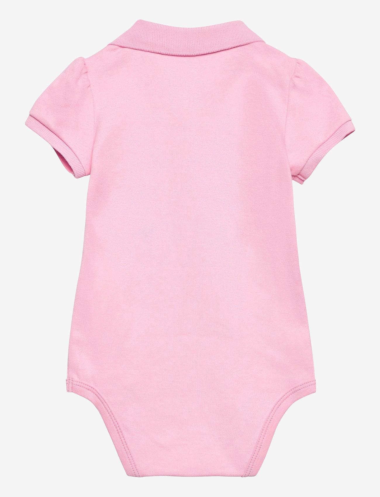 Ralph Lauren Baby - INTERLOCK-POLO BDYSUIT-OP-BDY - short-sleeved - carmel pink/white - 1