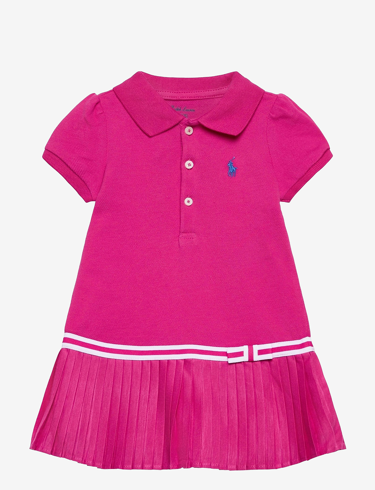 Ralph Lauren Baby - Pleated Polo Dress & Bloomer - kjoler - accent pink - 0