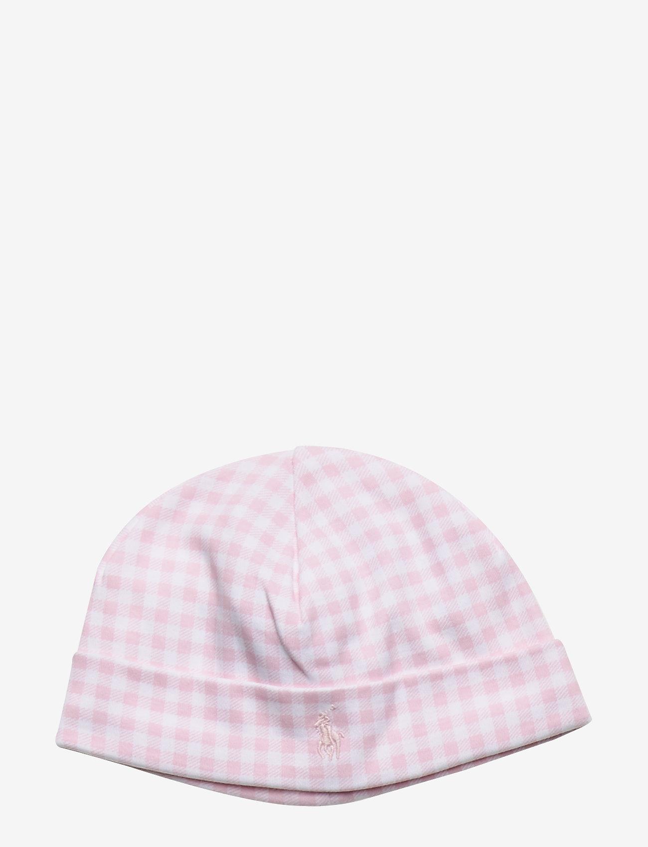 Ralph Lauren Baby - Gingham Cotton Interlock Hat - hats - delicate pink mul - 0