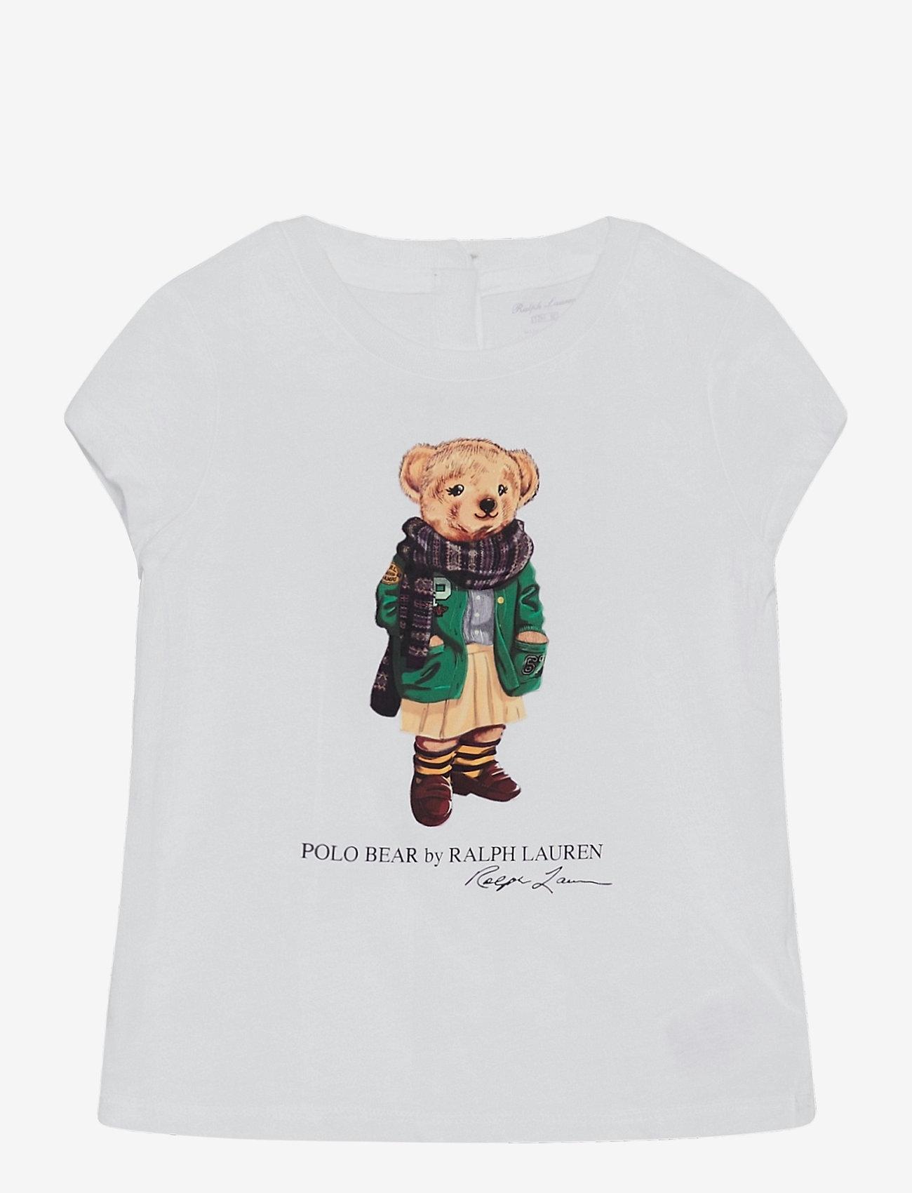 Ralph Lauren Baby - 40/1 CTN ENZYME JSY-BEAR TEE-TP-KNT - kortærmede - white - 0