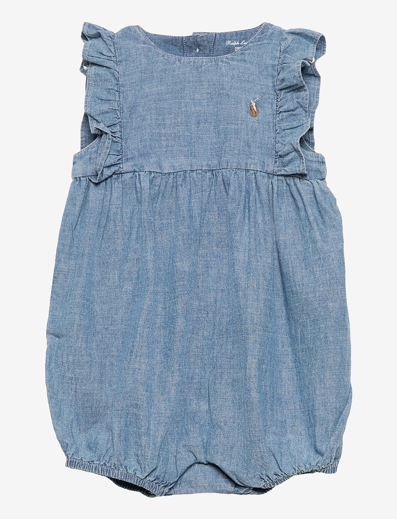 Ralph Lauren Baby - Chambray Cotton Bubble Shortall - kortærmede - indigo - 0