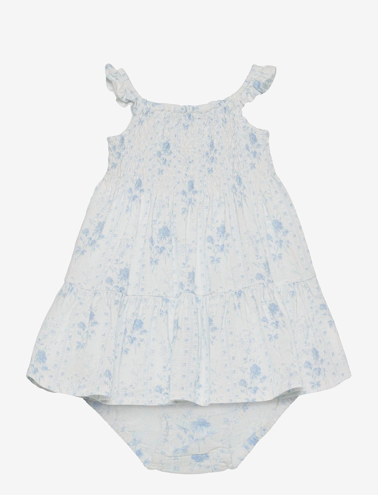 Ralph Lauren Baby - Smocked Dress & Bloomer - kleider - blue-white - 0