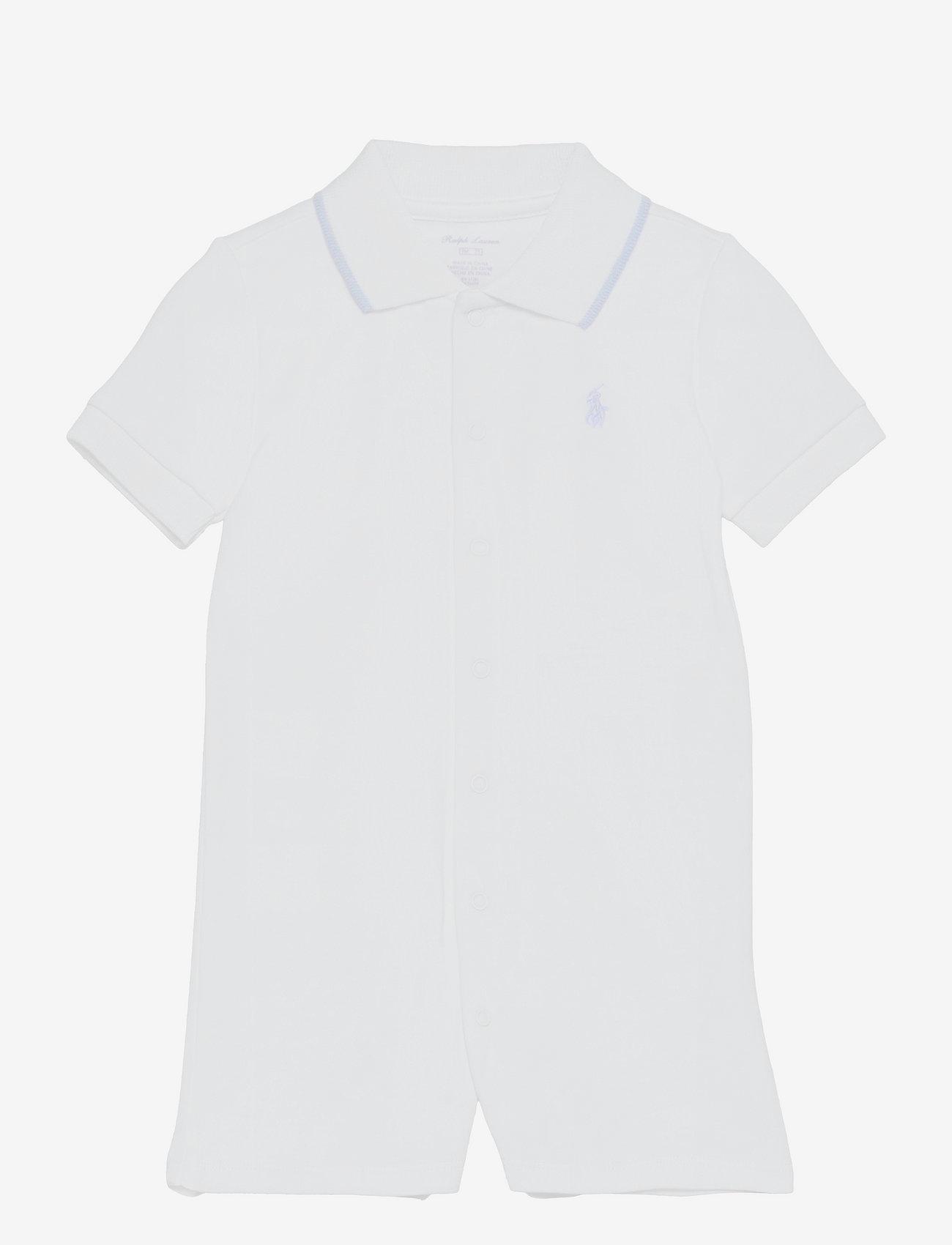 Ralph Lauren Baby - Cotton Interlock Polo Shortall - kortærmede - white - 0