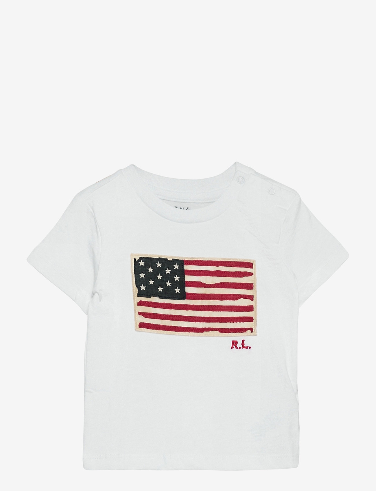 Ralph Lauren Baby - Flag-Patch Cotton Tee - short-sleeved - white - 0