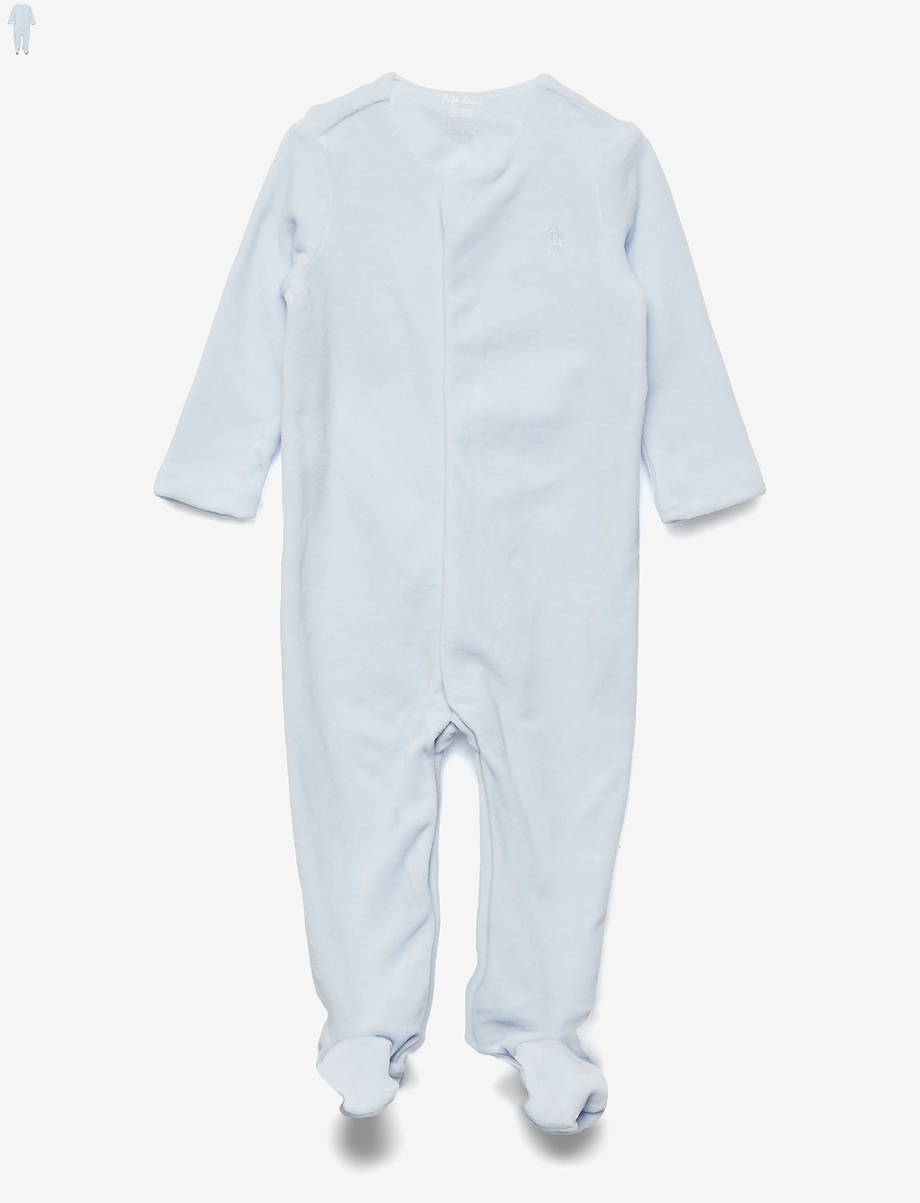 Ralph Lauren Baby - Cotton-Blend-Velour Coverall - langärmelig - beryl blue - 0