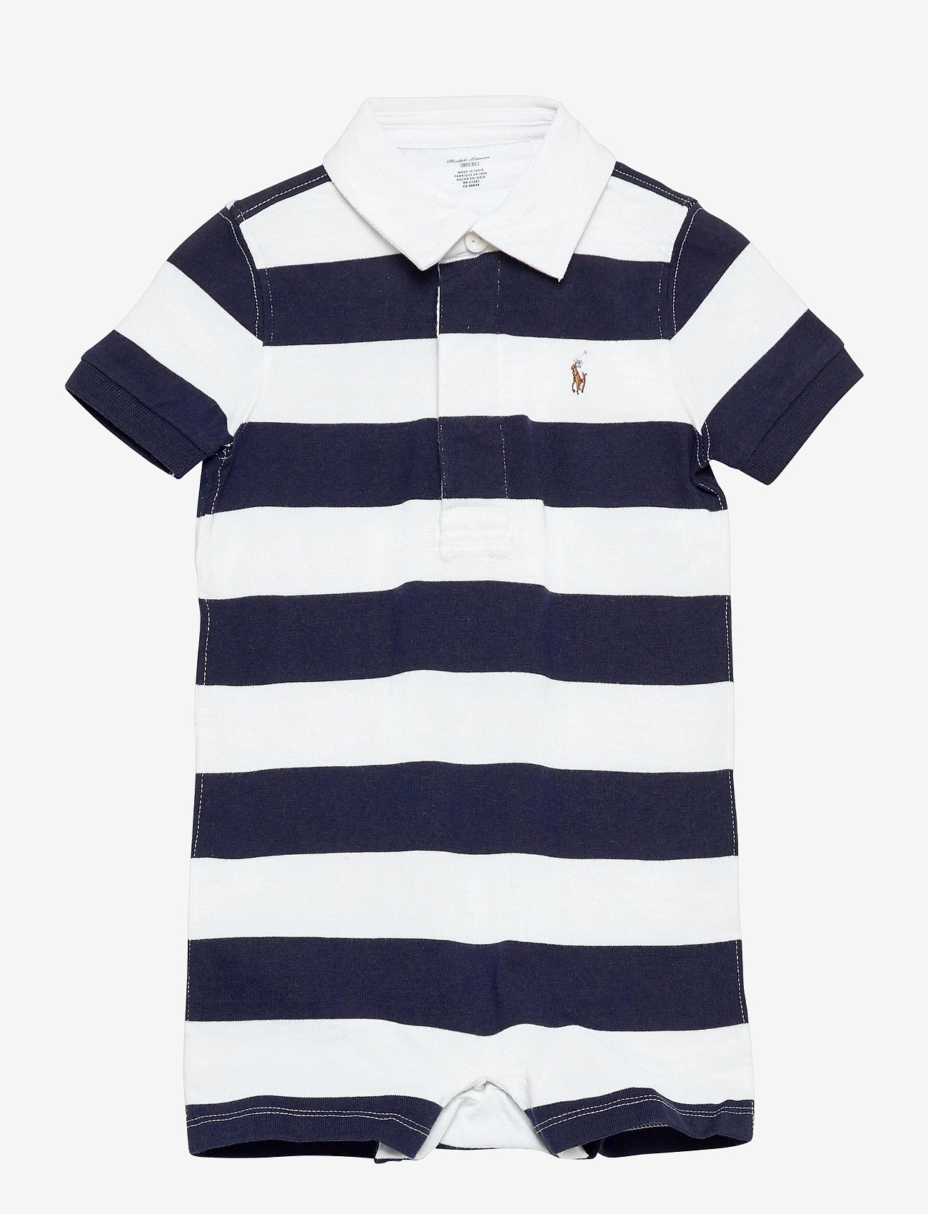Ralph Lauren Baby - Striped Cotton Rugby Shortall - kortærmede - french navy multi - 0