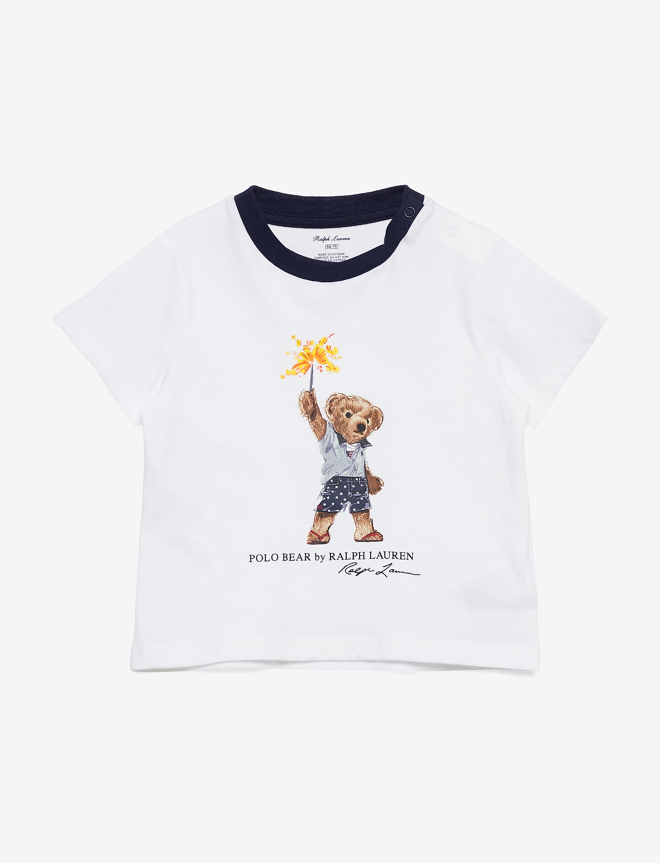 Ralph Lauren Baby - Sparkler Bear Cotton Tee - kortærmede - white - 0