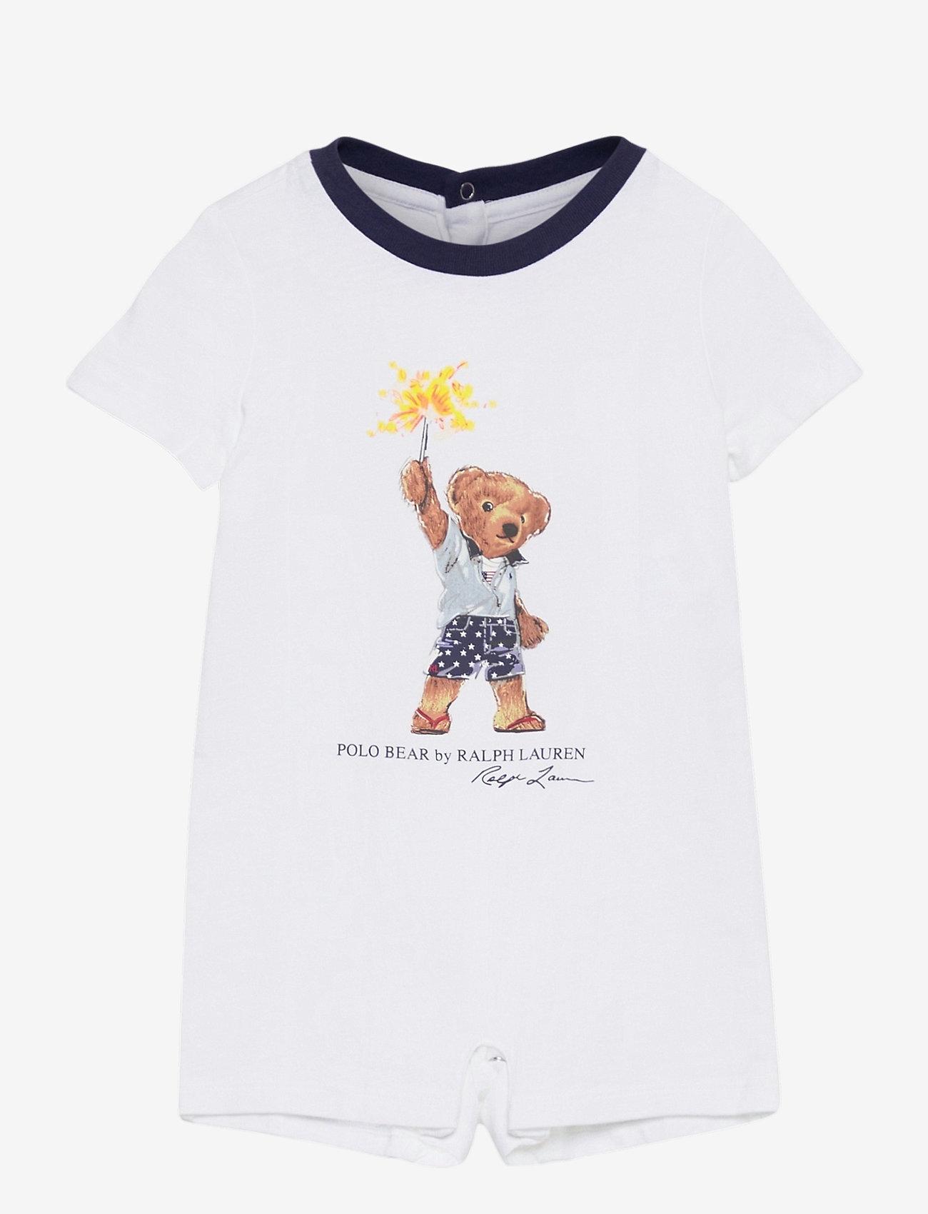 Ralph Lauren Baby - Sparkler Bear Cotton Shortall - kortærmede - white - 0