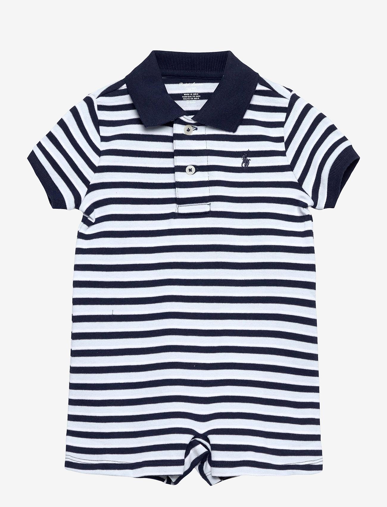 Ralph Lauren Baby - Soft Cotton Polo Shortall - short-sleeved - beryl blue multi - 0