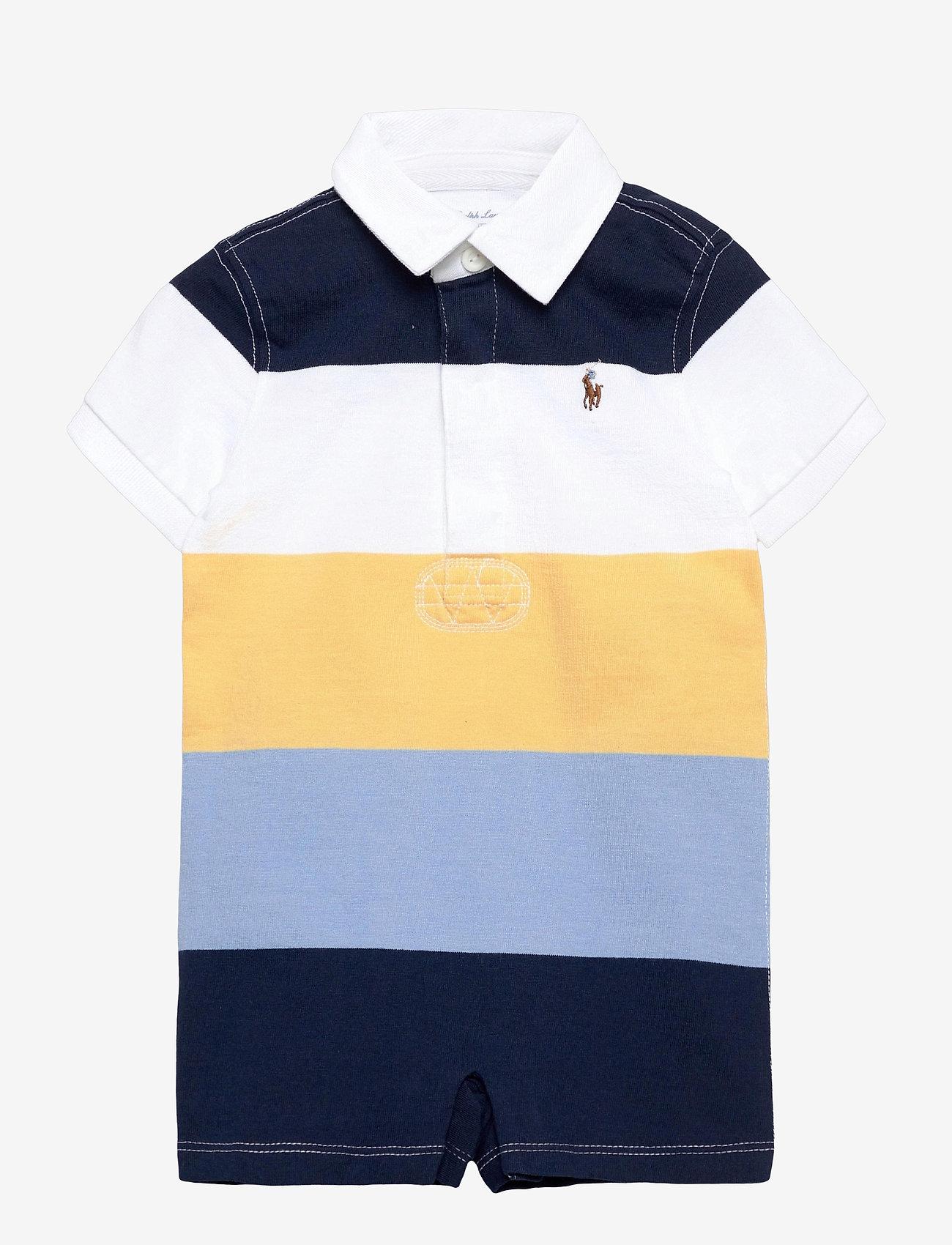 Ralph Lauren Baby - Striped Cotton Rugby Shortall - kurzärmelig - empire yellow mul - 0