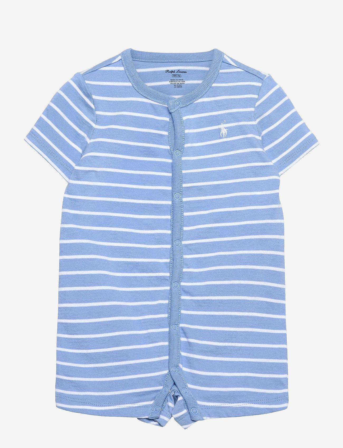 Ralph Lauren Baby - Striped Cotton Jersey Shortall - kurzärmelig - blue lagoon multi - 0