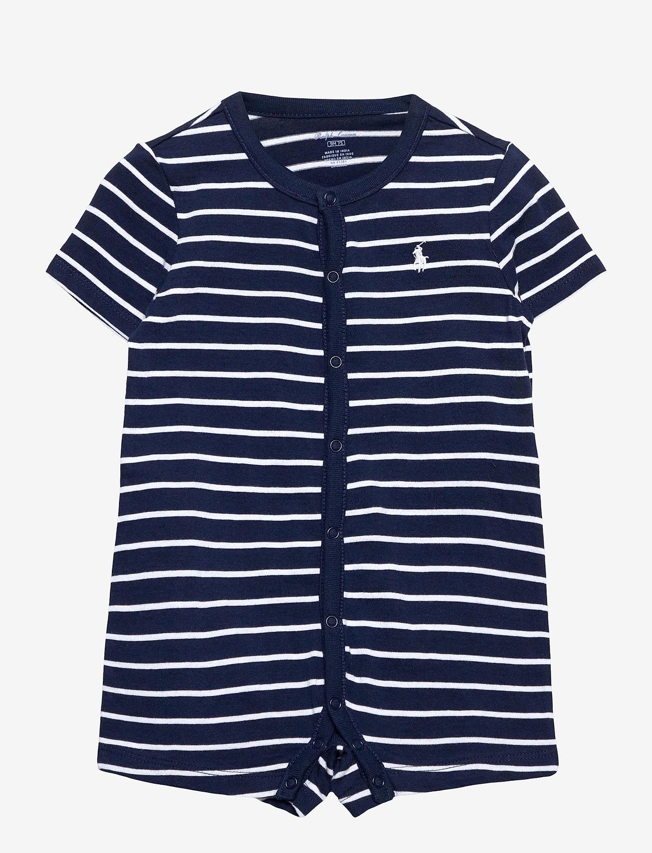 Ralph Lauren Baby - Striped Cotton Jersey Shortall - short-sleeved - french navy multi - 0