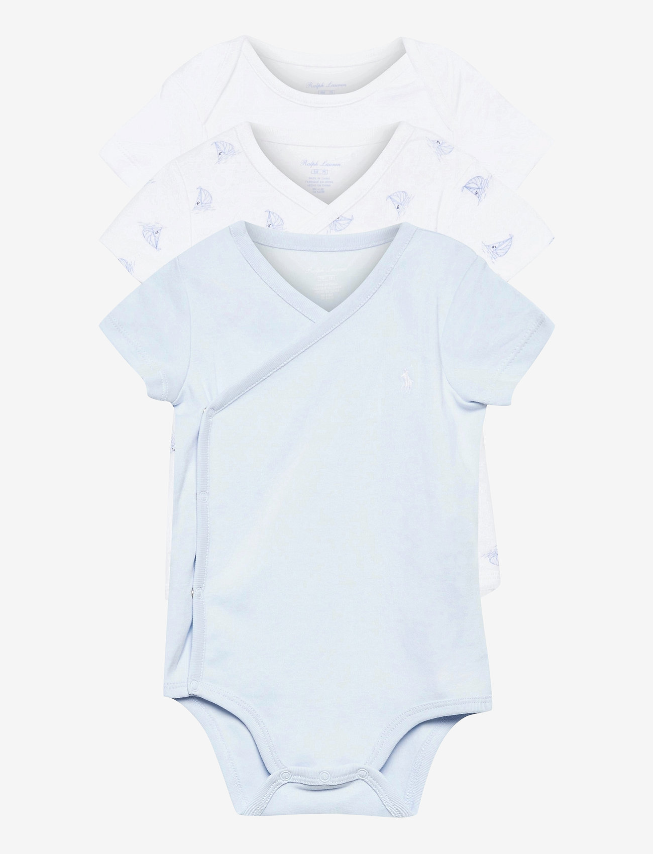 Ralph Lauren Baby - Sailboat Bodysuit 3-Piece Set - kurzärmelige - beryl blue - 0