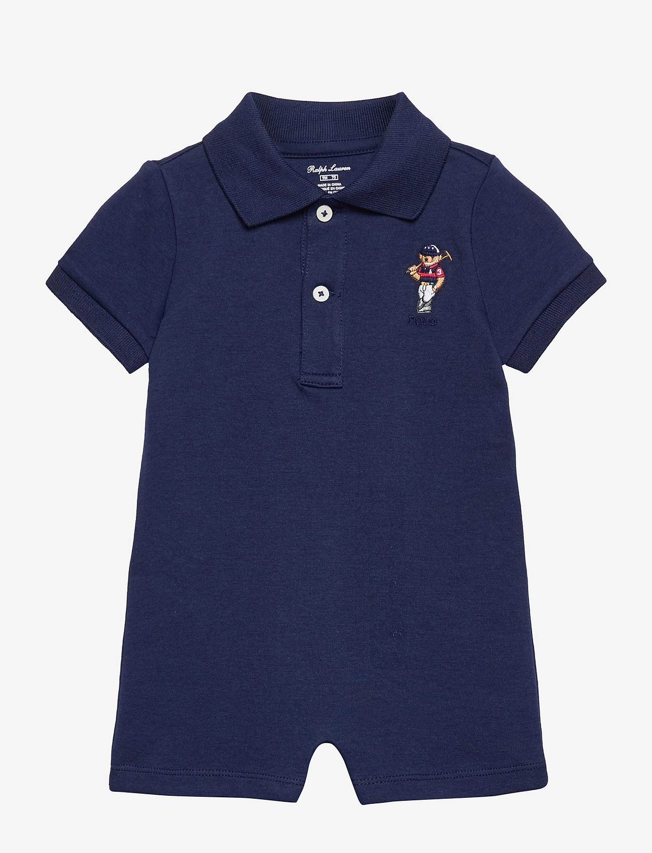 Ralph Lauren Baby - Polo Bear Cotton Interlock Shortall - kortærmede - newport navy - 0