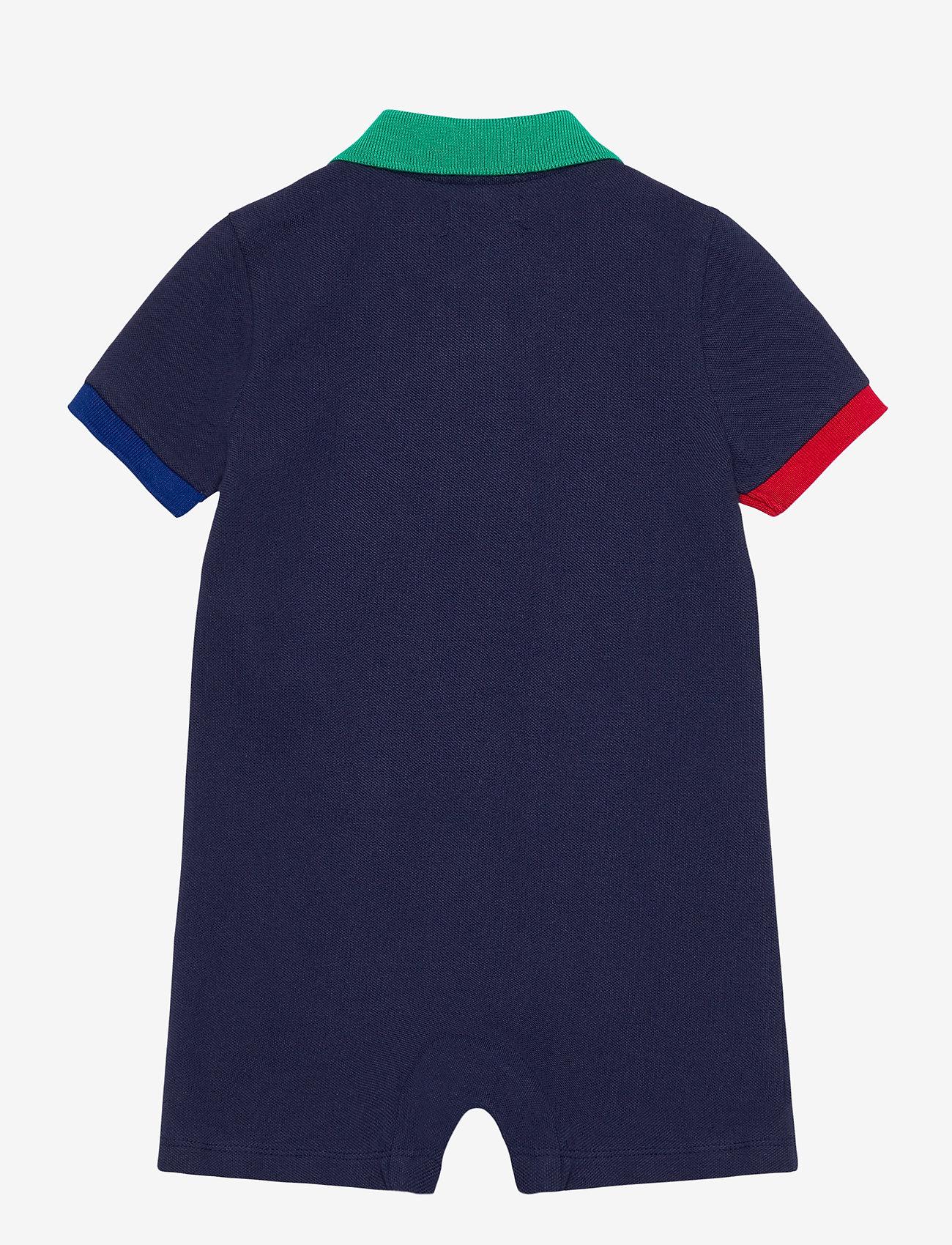 Ralph Lauren Baby - Big Pony Cotton Mesh Polo Shortall - short-sleeved - newport navy - 1
