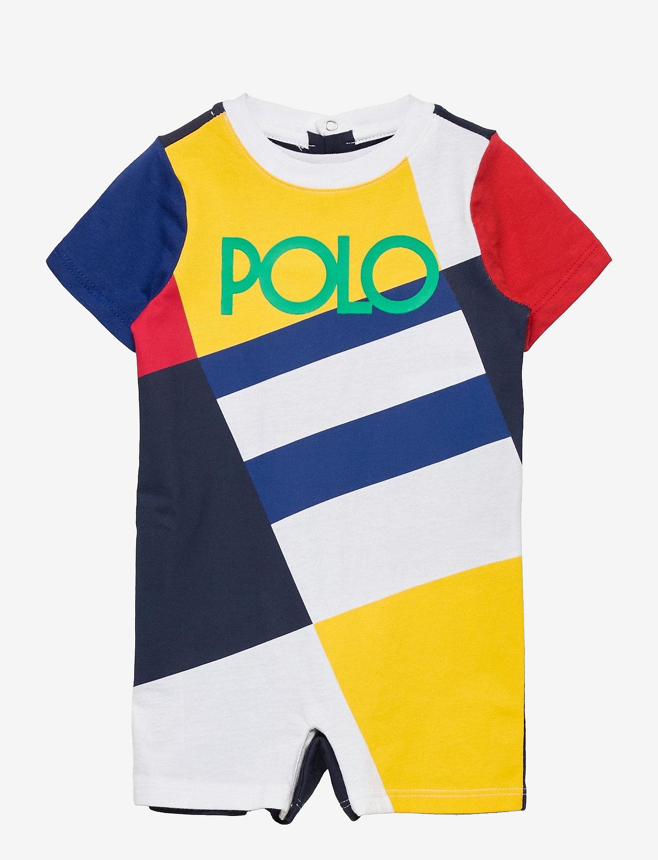 Ralph Lauren Baby - Logo Cotton Jersey Shortall - kurzärmelig - multi - 0