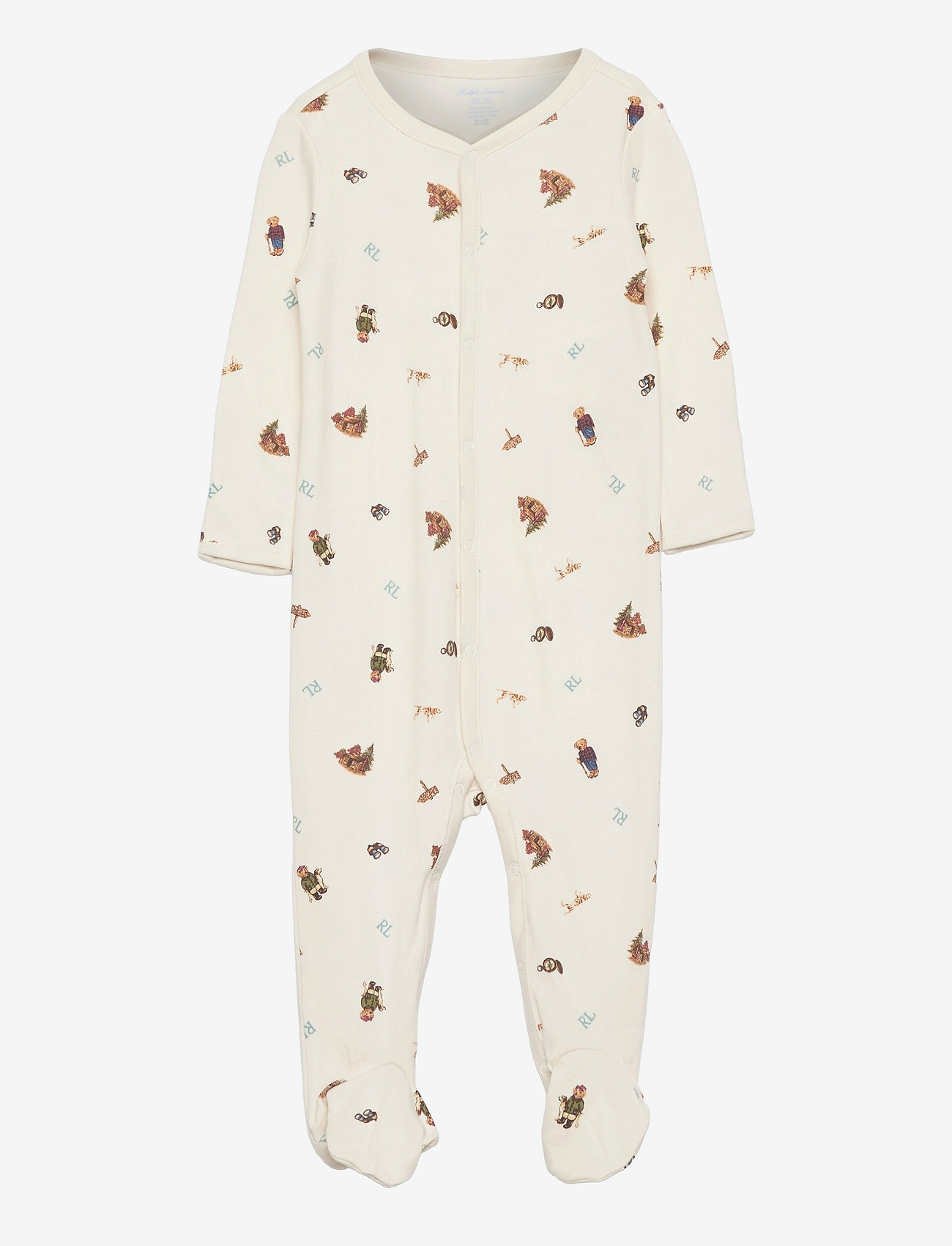 Ralph Lauren Baby - Polo Bear Soft Cotton Coverall - sleeping overalls - greenwhich bear p - 0
