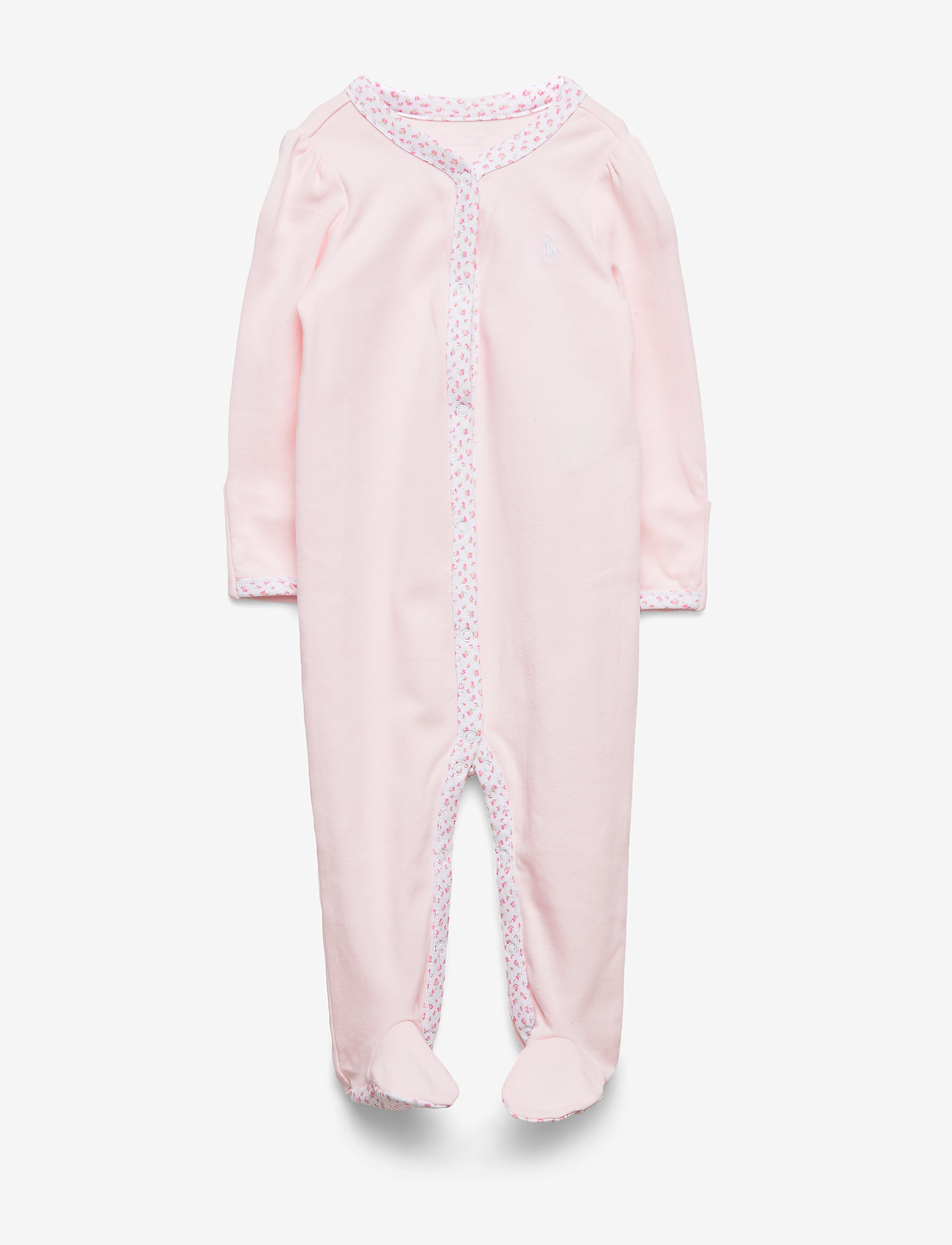 Ralph Lauren Baby - Floral-Trim Cotton Coverall - pajacyki do spania - delicate pink - 0