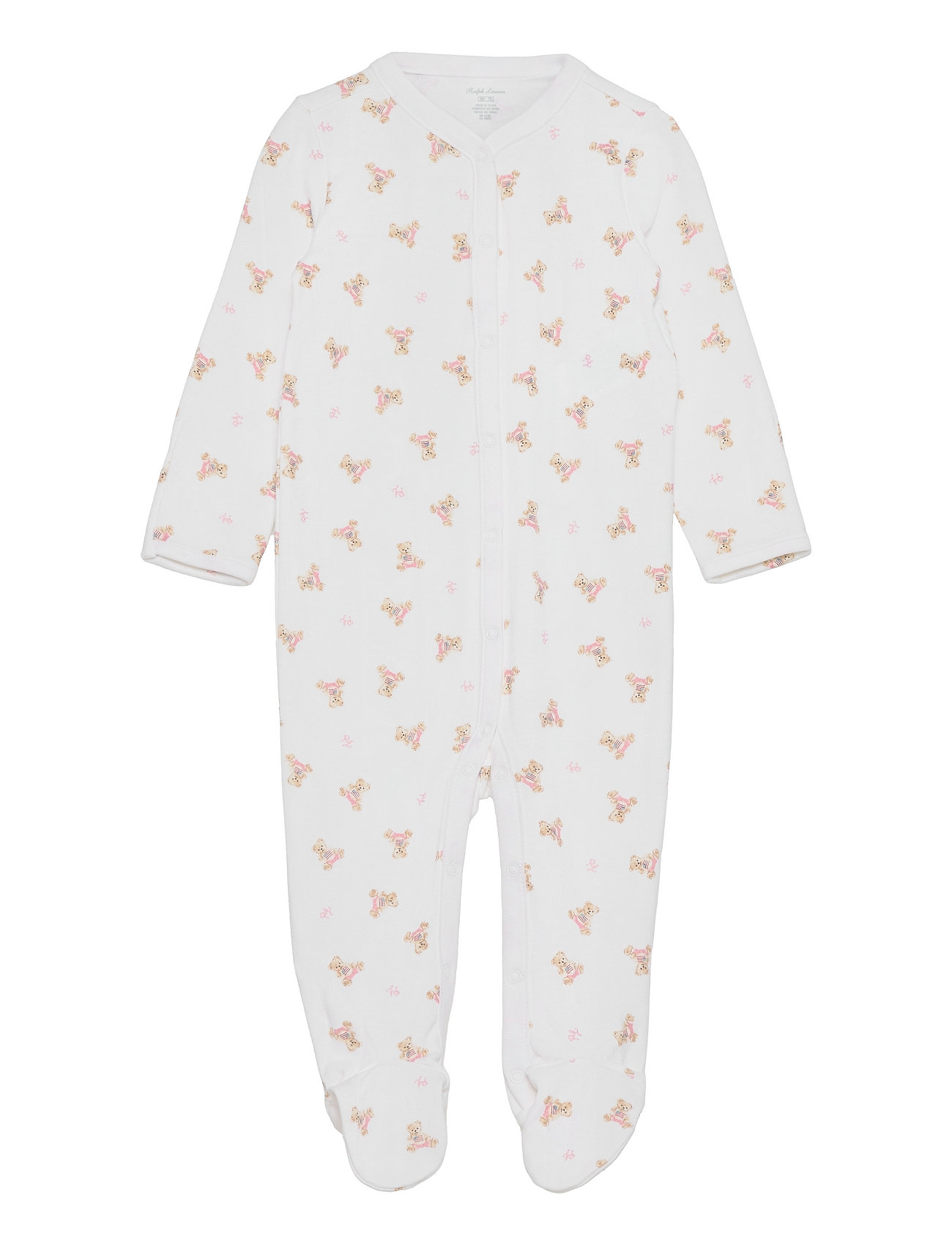 Ralph Lauren Baby Polo Bear Cotton Coverall - WHITE/PINK/MULTI