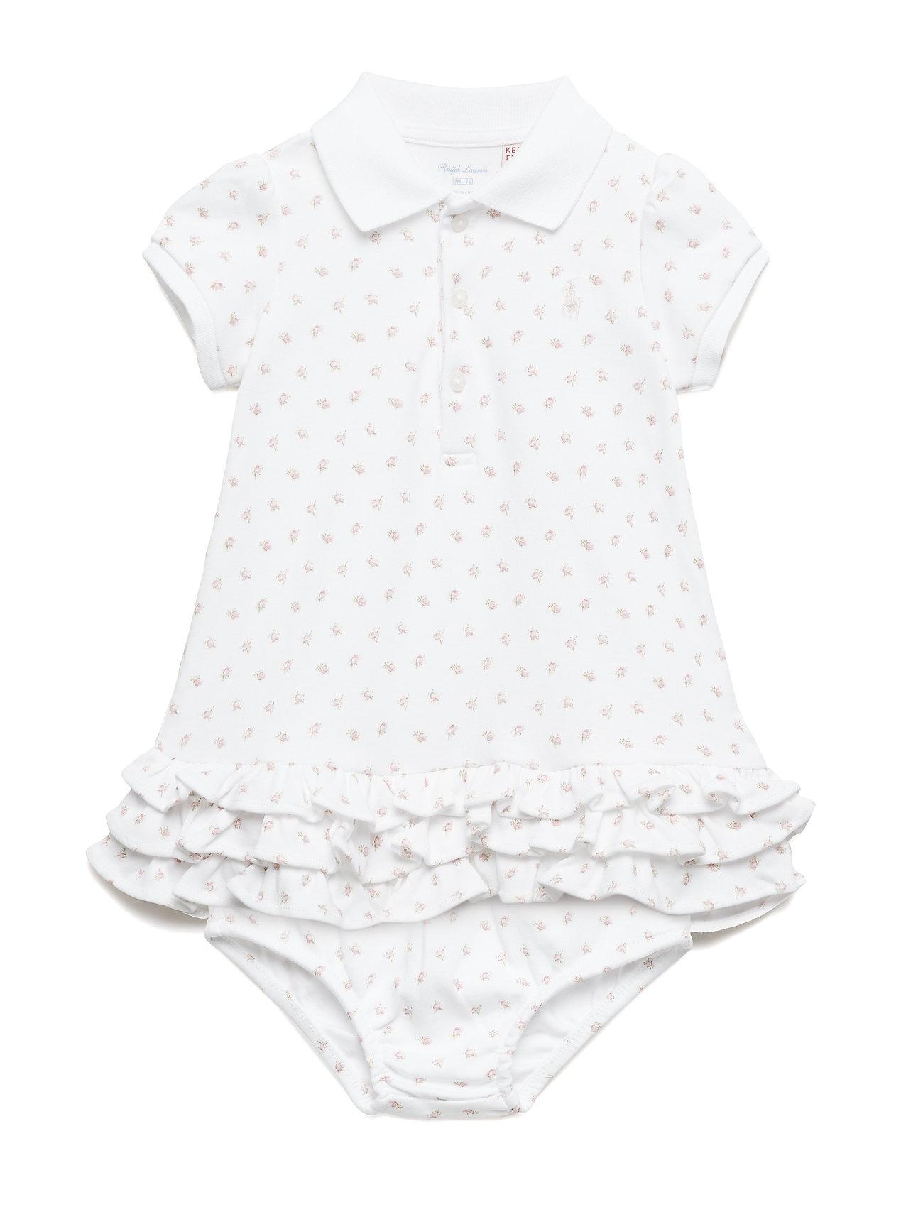 Ralph Lauren Baby Ruffled Polo Dress & Bloomer - WHITE MULTI