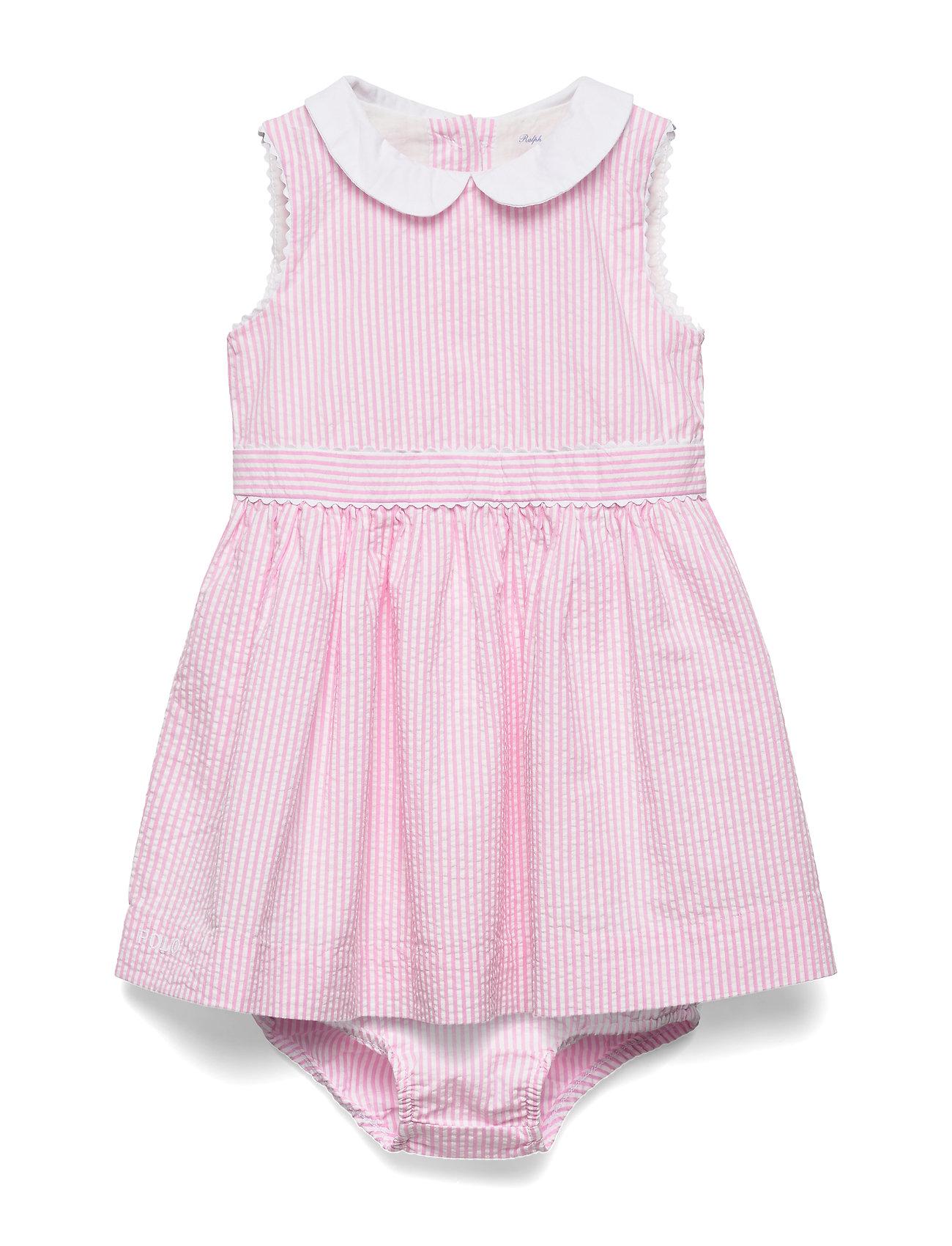 Ralph Lauren Baby Seersucker Dress & Bloomer - PINK MULTI