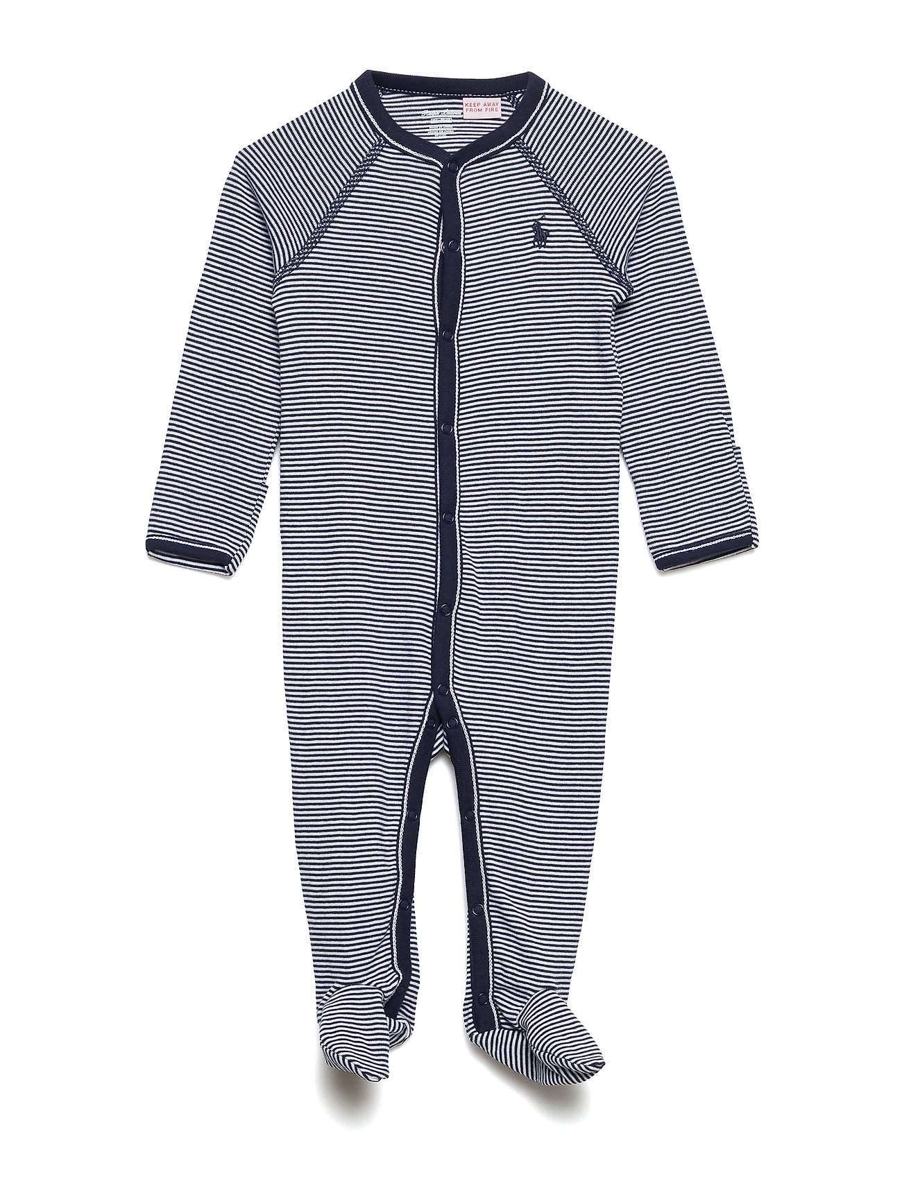 Ralph Lauren Baby Striped Cotton Jersey Coverall - FRENCH NAVY MULTI