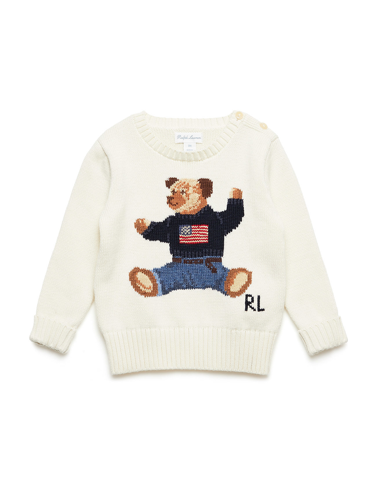 538405cac064 Polo Bear Cotton Sweater (Warm White) (£53.55) - Ralph Lauren Baby ...