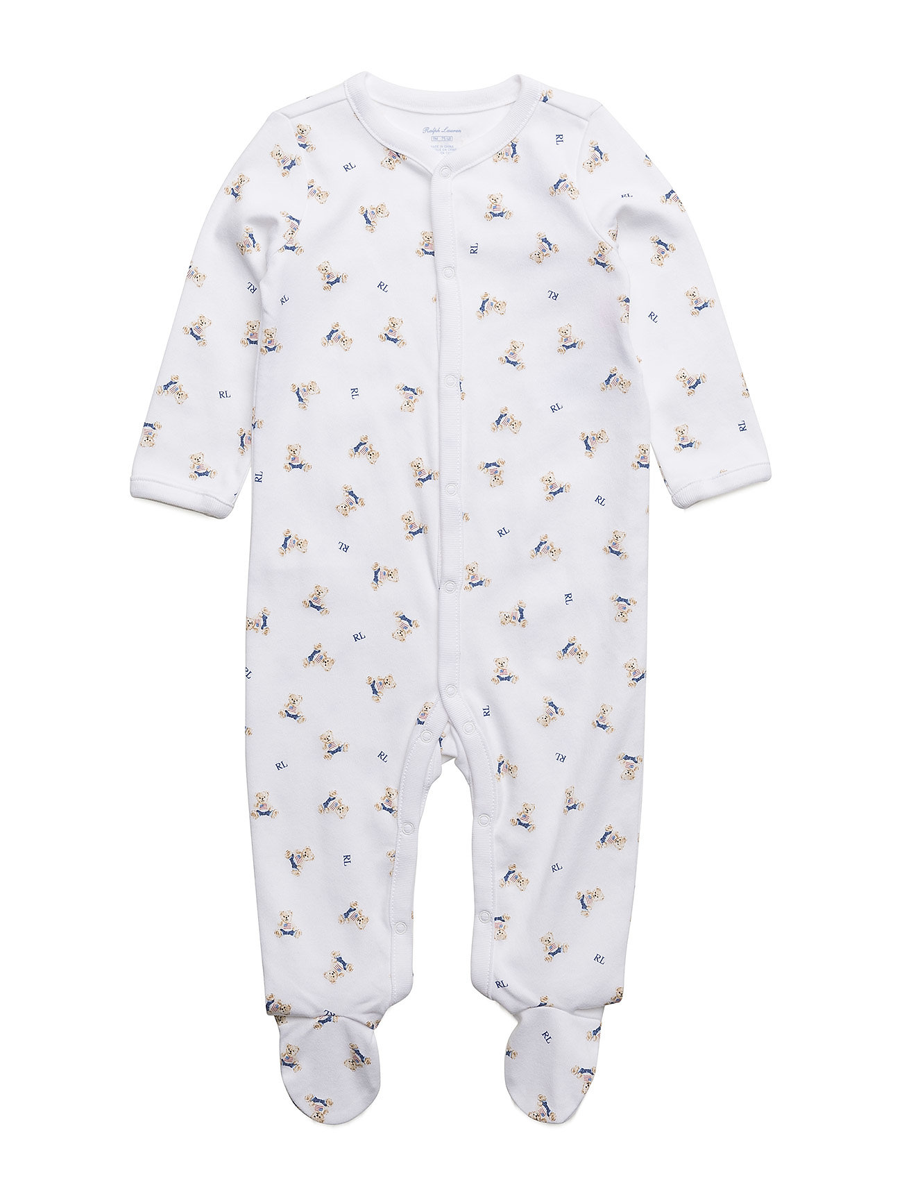 Ralph Lauren Baby Polo Bear Cotton Coverall - WHITE/BLUE MULTI