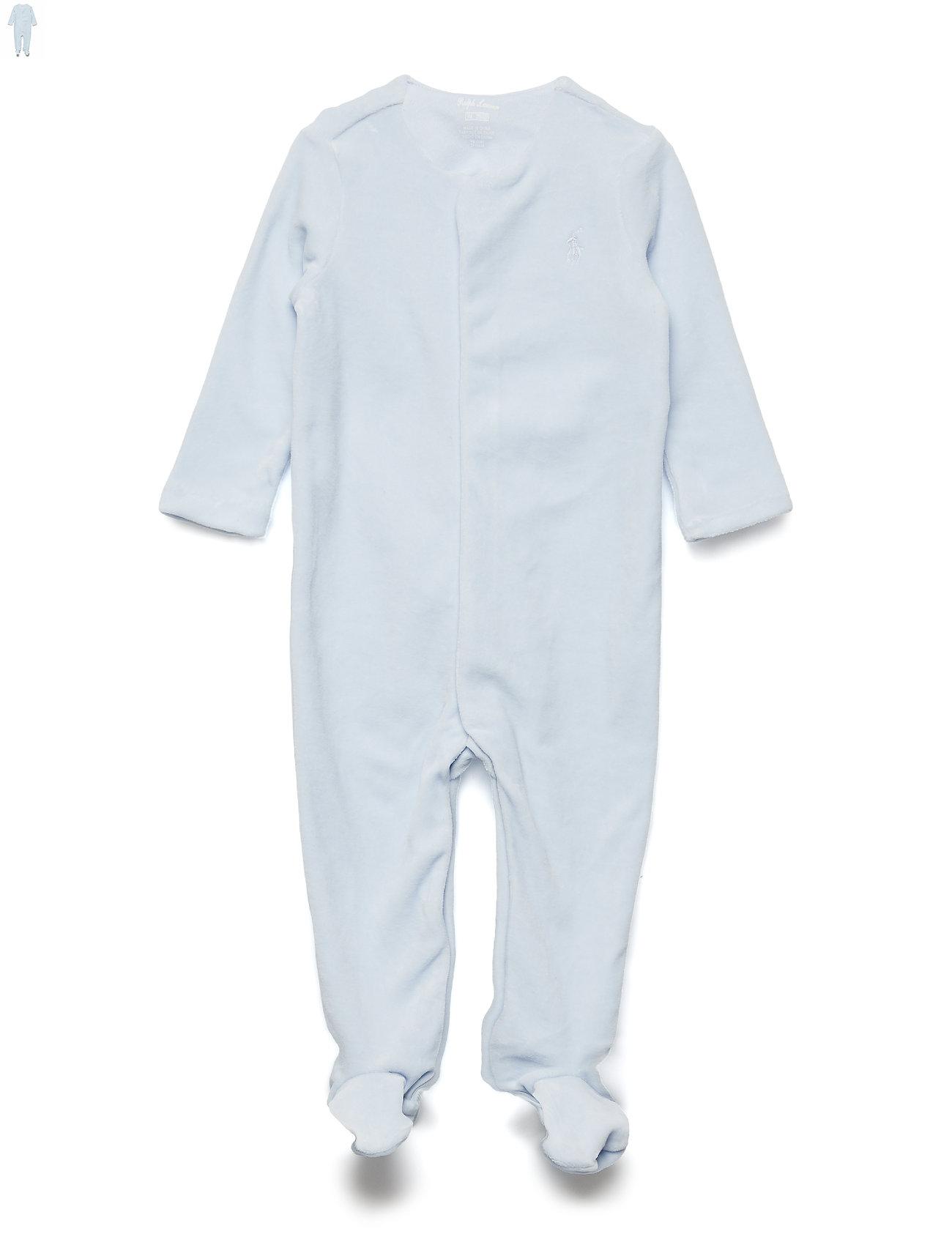 Ralph Lauren Baby Cotton-Blend-Velour Coverall - BERYL BLUE