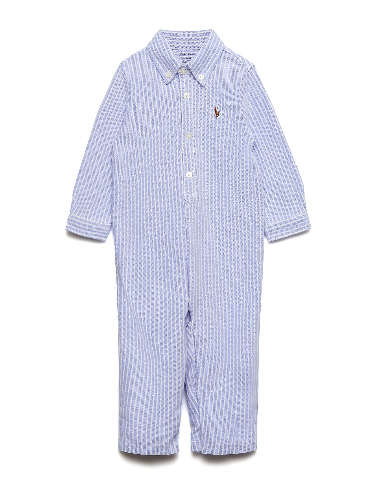 Ralph Lauren Baby Cotton Oxford Mesh Coverall - HARBOR ISLAND BLU