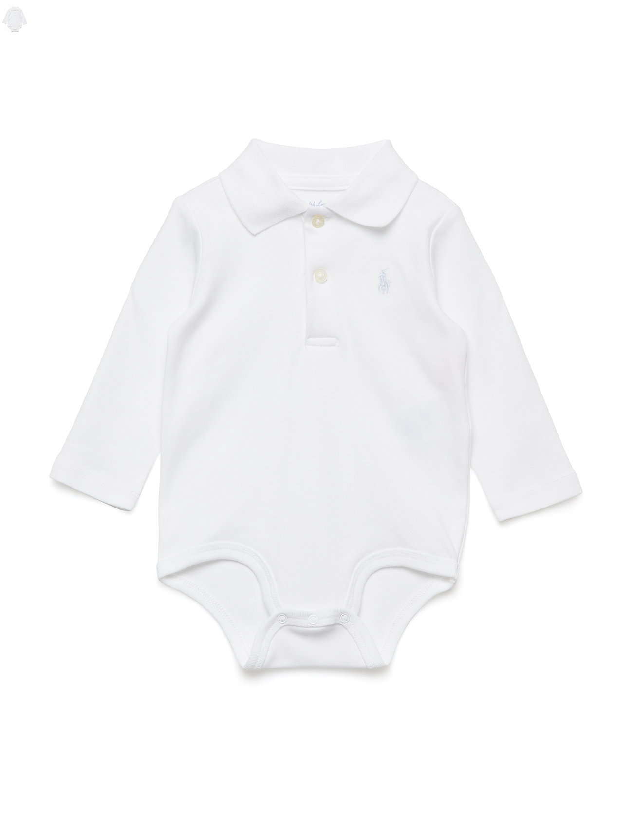 Ralph Lauren Baby Cotton Interlock Polo Bodysuit - WHITE