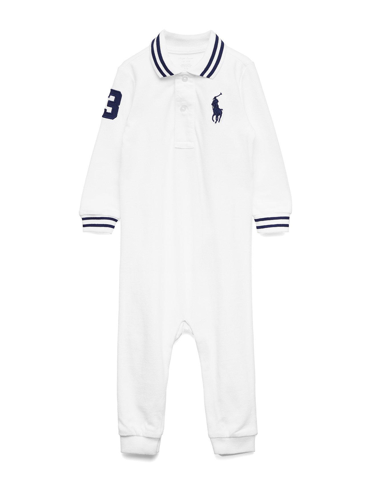Ralph Lauren Baby Cotton Mesh Polo Coverall - WHITE