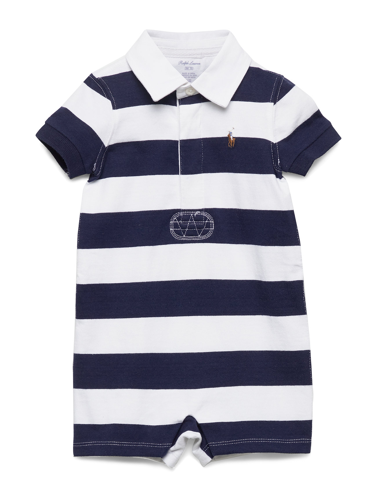 Ralph Lauren Baby Striped Cotton Rugby Shortall - FRENCH NAVY MULTI