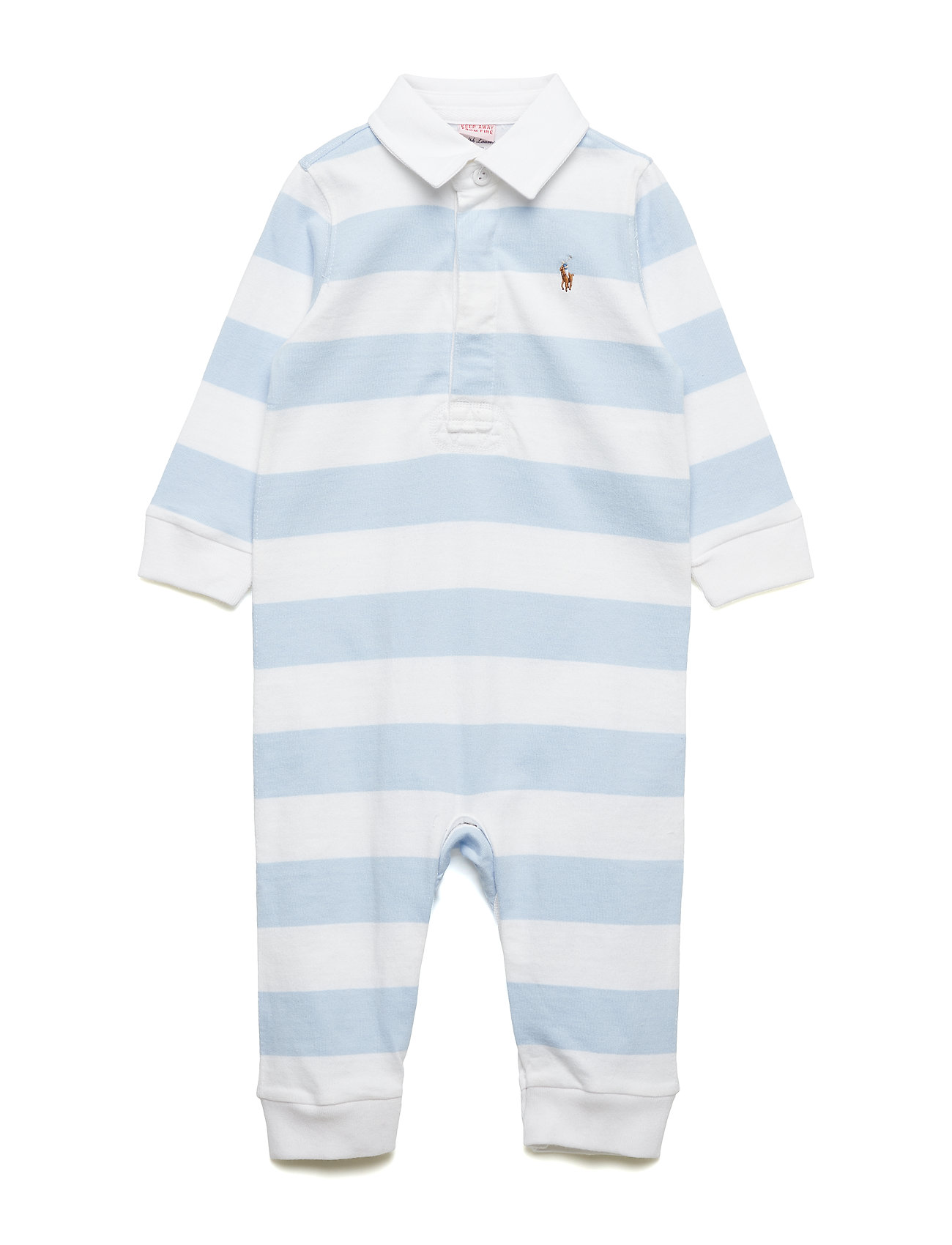 Ralph Lauren Baby Striped Cotton Rugby Coverall - BERYL BLUE/WHITE