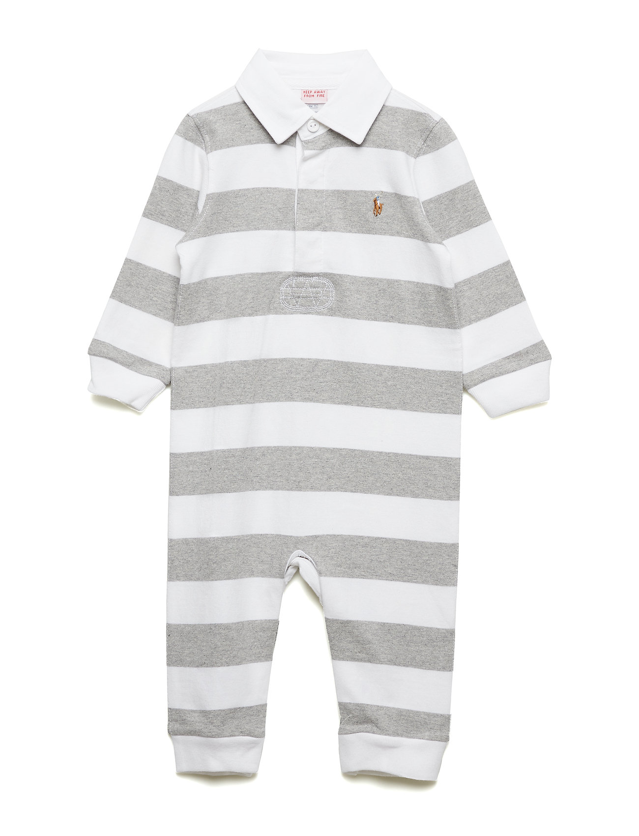 Ralph Lauren Baby Striped Cotton Rugby Coverall - LIGHT GREY HEATHE