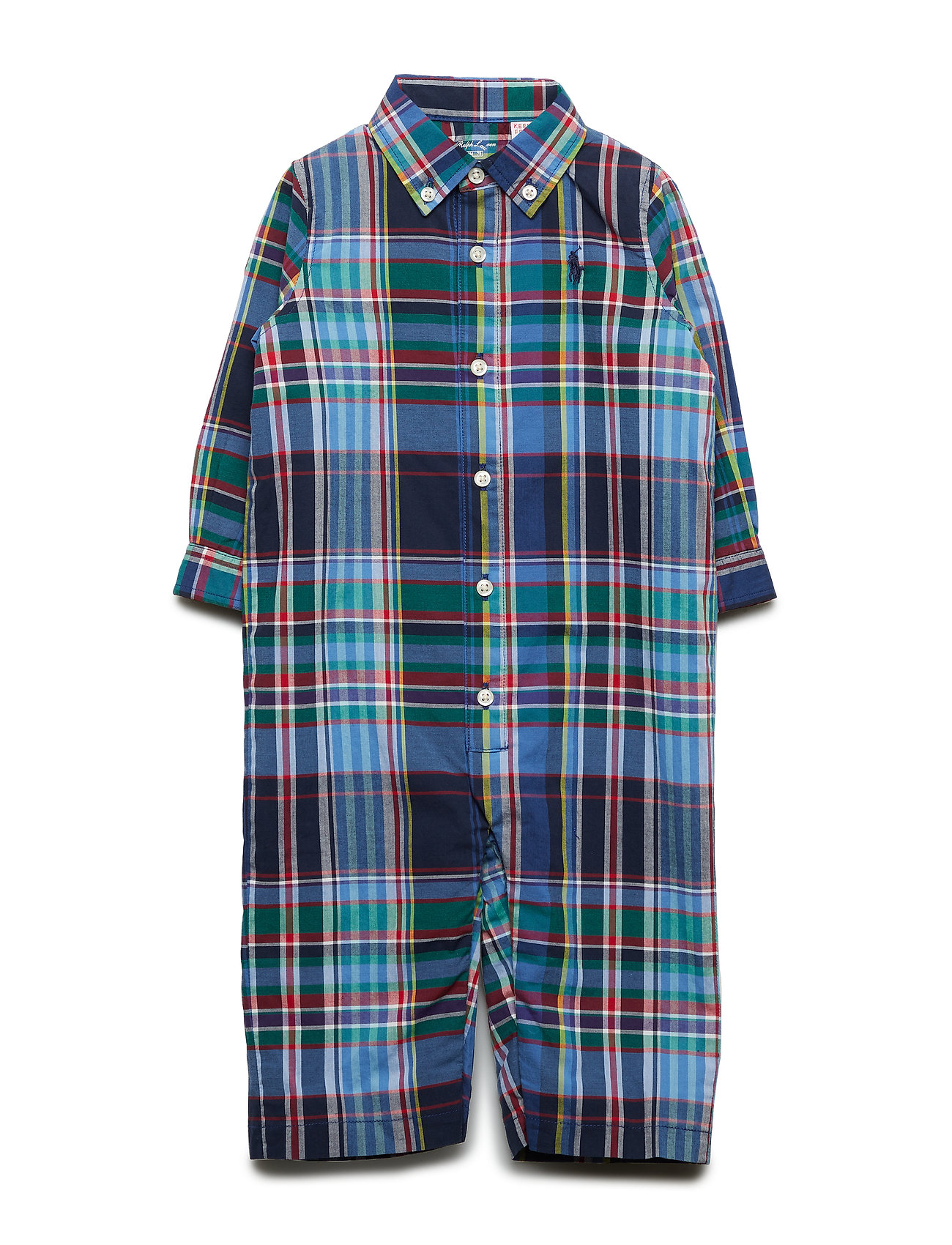 Ralph Lauren Baby Plaid Cotton Coverall - NAVY/RED MULTI