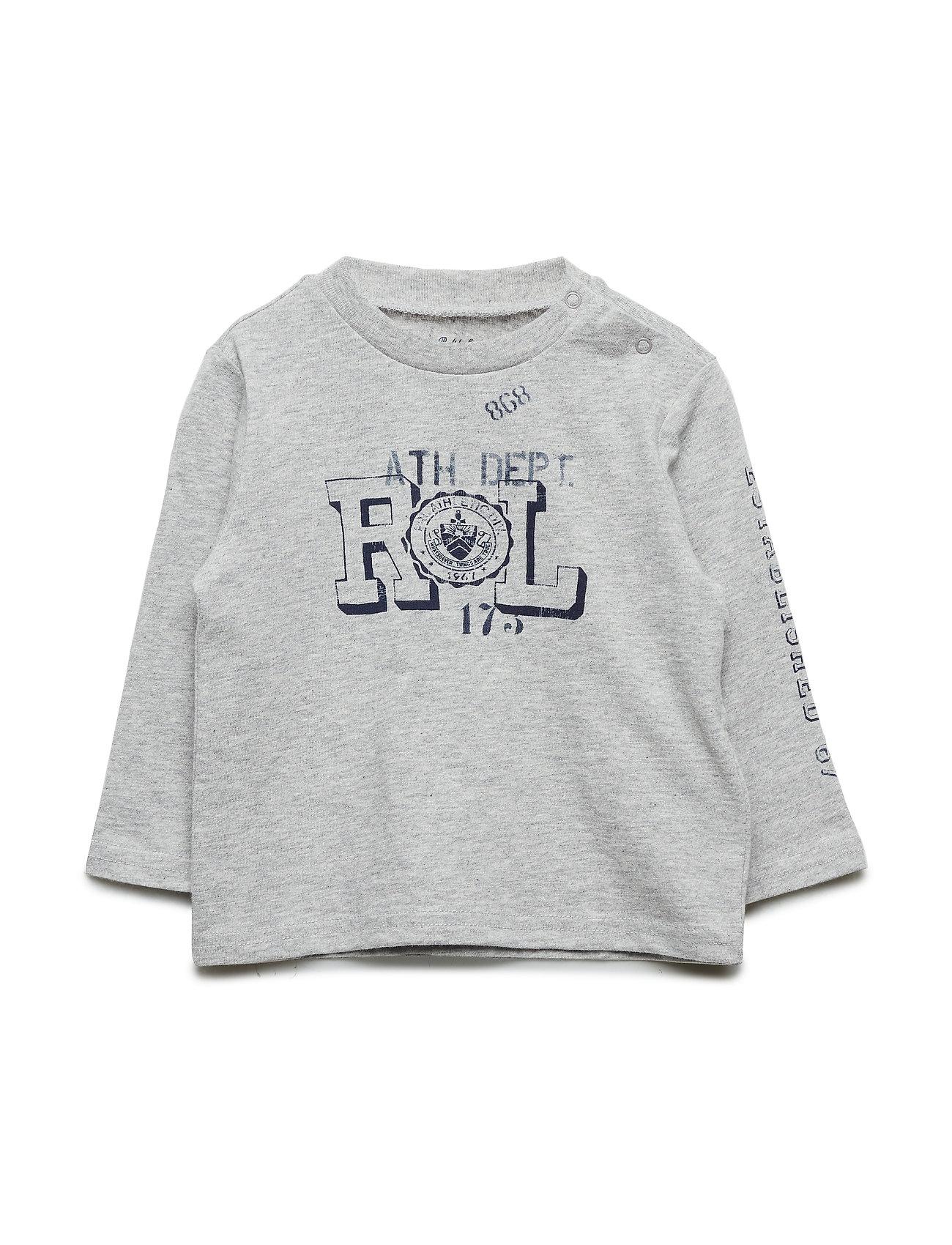 Ralph Lauren Baby Graphic Long-Sleeve Cotton Tee - LT GREY HEATHER